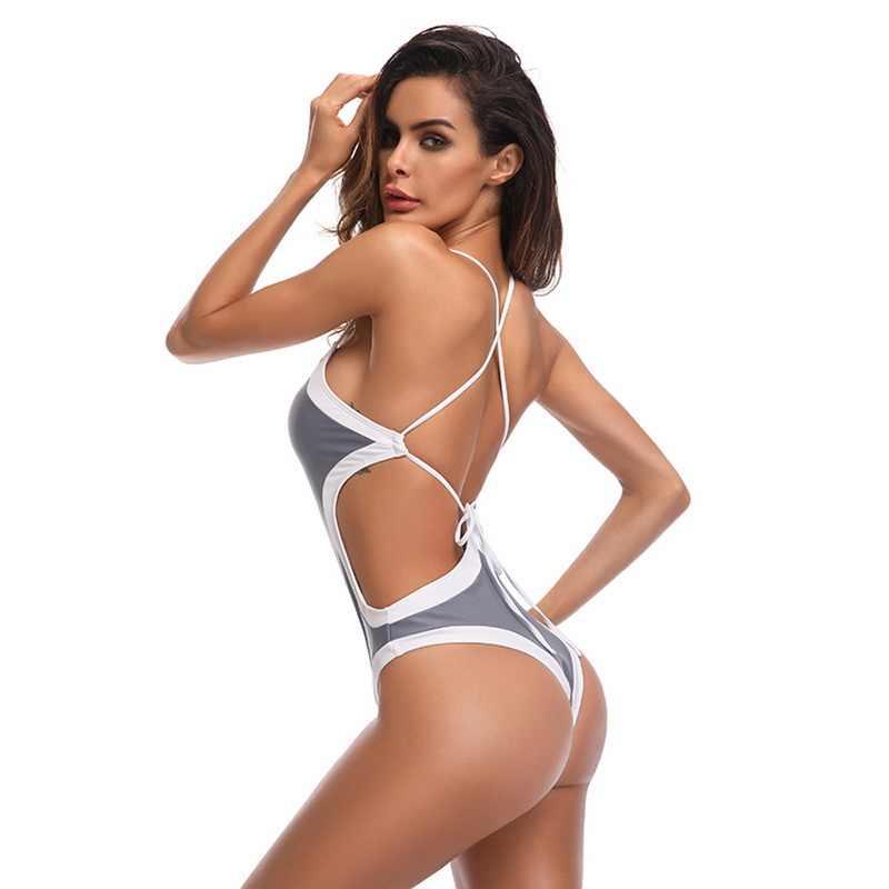 7d3ab4ed6777f ... vertvie 2019 New Sexy One Piece Swimsuit Backless Swimwear Patchwork Bodysuit  Push Up Bandage Bathing Suit ...
