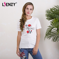 LIENZY Summer Ins Women White T Shirt Short Sleeve Nothing Letter Rose Print O Neck Women