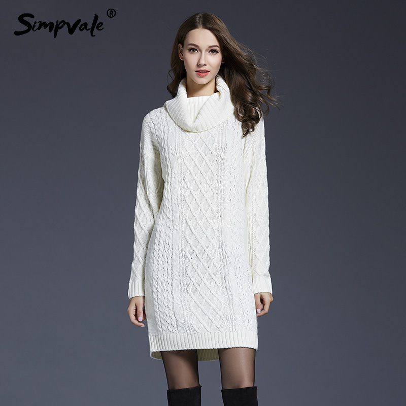 SIMPVALE Turtleneck Knitted Mini Dress Women Autumn Winter Solid Color Knit Short Dress Female Slim Fit