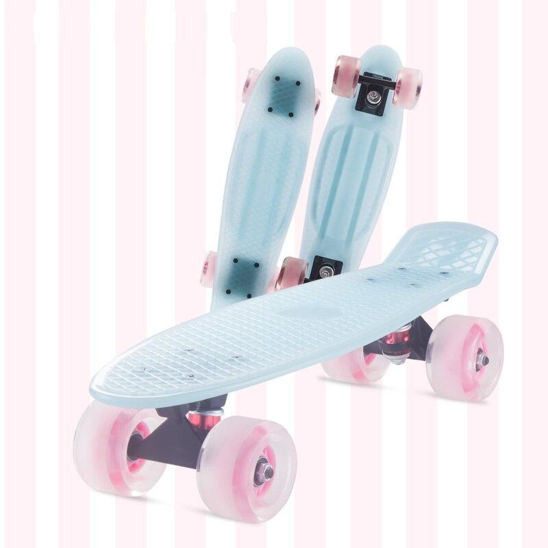 22 pouces Longue Planche À Roulettes Adulte Et Enfant Freestyle Skate Board Mini Cruiser Transparent gelée planche à roulettes