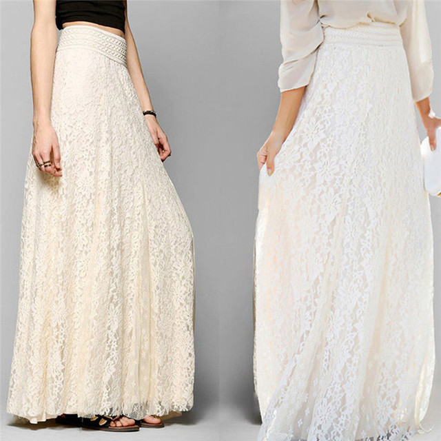 3b7d8c56fc1cfd Wolovey#20 2017 New Style Women Lace Double Layer Pleated Long Maxi Skirt  Elastic Waist Skirt Elegant Refinement Simple Styley