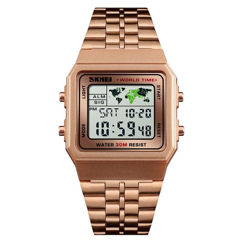 SKMEI Woman Sport Watch Digital Luxury Watches World Time 12/24 Hour Clock Fashion Wristwatch  Top Brand Bracelet For Man 1338