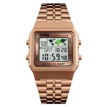 315eaeff6421 SKMEI hombres reloj deportivo Digital relojes de lujo Hora Mundial reloj de  12 24 horas moda marca de reloj de pulsera para hombre 1338