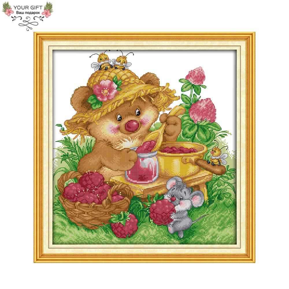 Joy Sunday Counted and Stamped Cute Squirrel Make Any Jam Needlework Embroidery DIY Cros ...