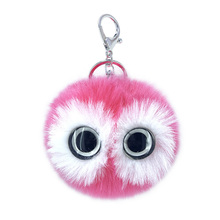 Cute Big Glass Eyes Pokemon Keychains Pompom Ball Keyring Bags Pendant Decoration Jewelry Ornaments Baby Toys Gifts for Children