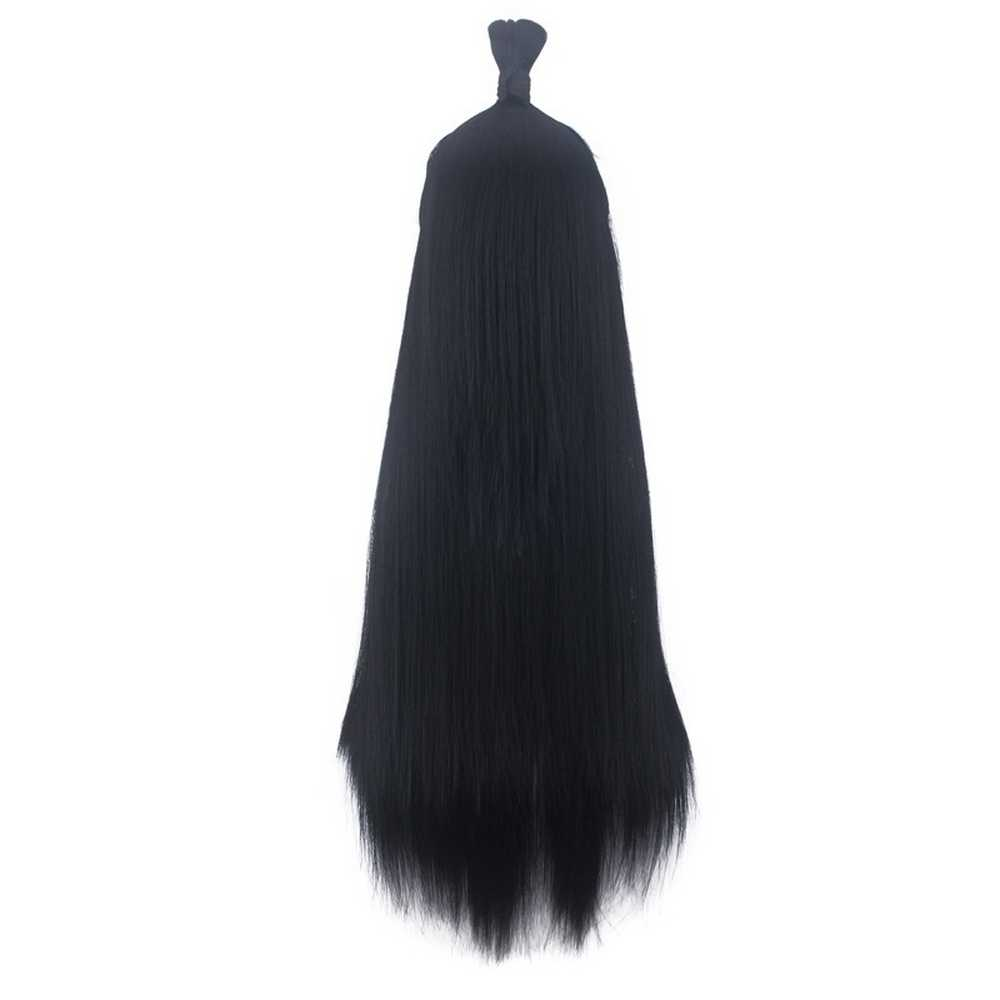80 cm starożytny chiński styl włosy mężczyźni wojownik długa prosta czarna peruka do cosplay szermierz Costume zagraj peruki