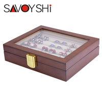 SAVOYSHI Jewelry Luxury Glass Box Storage 12pairs Capacity ring box High Quality Painted Wooden Box Authentic size 185*150*46mm