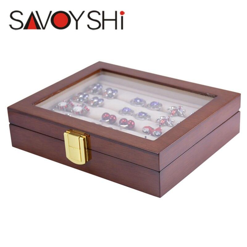 SAVOYSHI Schmuck Luxus Glas Aufbewahrungsbox 12 pairs Kapazität ring box Qualität Painted Holzkiste Authentic größe 185*150*46mm