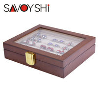 SAVOYSHI Jewelry Luxury Glass Box Storage 12pairs Capacity ring box High Quality Painted Wooden Box Authentic size 185*150*46mm