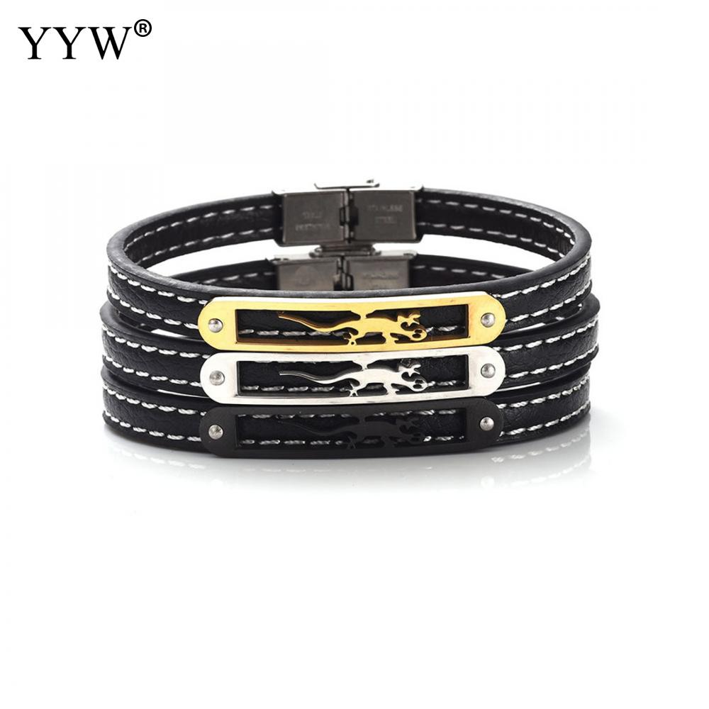 Gecko plated Black gold silver Genuine Leather Bracelet Fashion Women & Men Bracelets Jewelry Pulseras