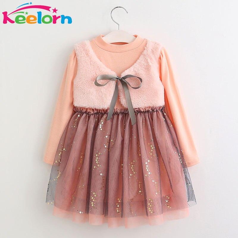 Keelorn Girls Dress 2017 New Winter Dresses Children Clothing Princess Dress Pink Long Sleeve Wool Bow Design Girls  Clothes keelorn girls dress 2017 autumn winter