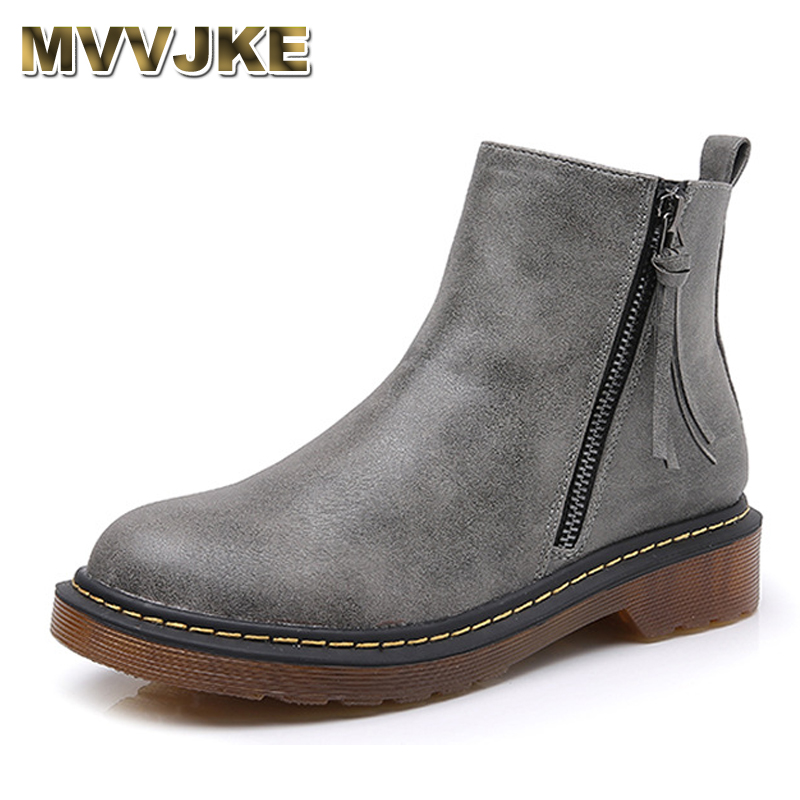 MVVJKE Fashion Casual Spirng Summer Shoes Woman Brand New Women ankle Martin short boots motorcycle flat Zipper Shoes Plus size women s shoes 2017 summer new fashion footwear women s air network flat shoes breathable comfortable casual shoes jdt103