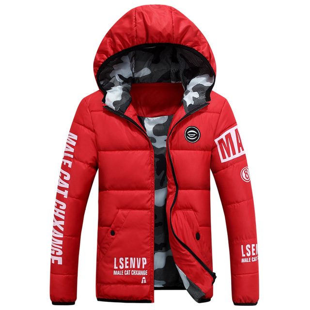 Large Size Men's Down Jacket Winter Warm Hooded Windproof Outwear Down Coat Letter Print Thickening Parka Coats Male Y2015