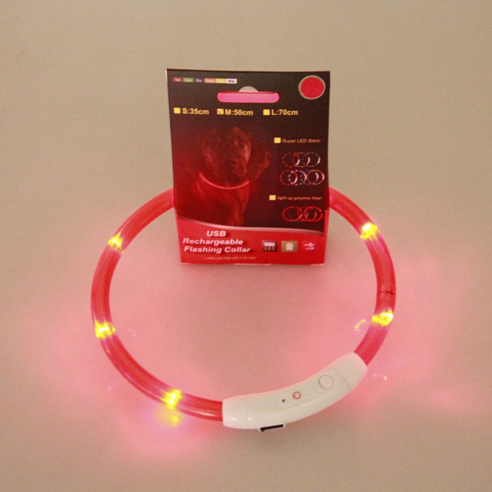 new high quality dog collar rechargeable usb led flashing. Black Bedroom Furniture Sets. Home Design Ideas