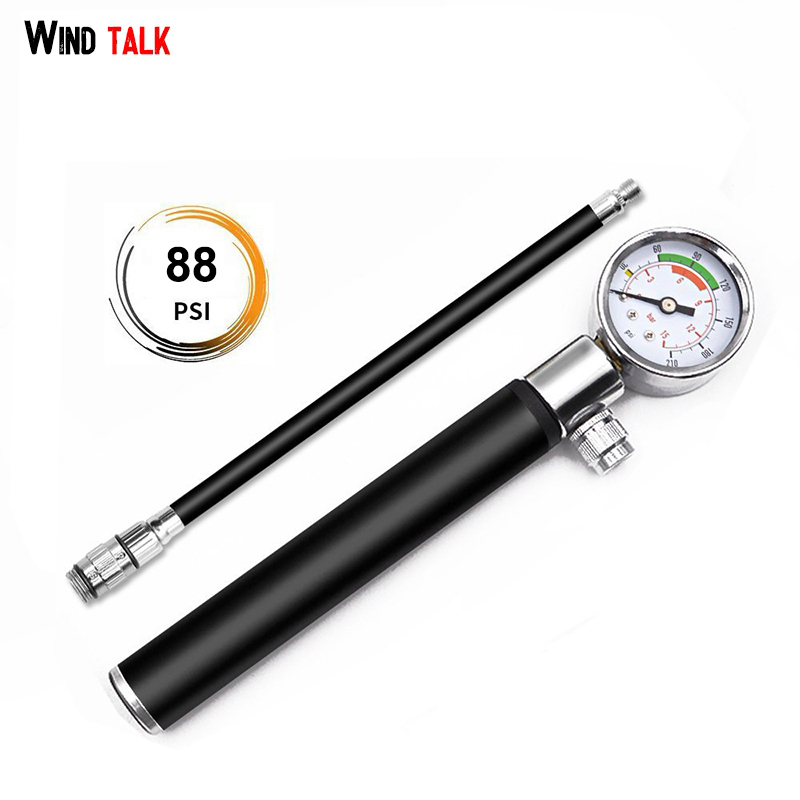 Wind Talk Mini Bicycle Pump With Gauge Mountain Bike Hand Ball Needle Air Pump Presta & Schrader Adapter Bicycle Fork Inflador