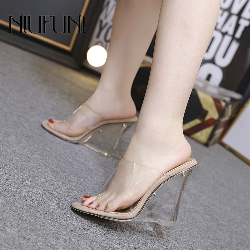 Sexy 2 Colors Transparent Crystal Women's Slippers 2019 Wedge Heel Shoes Super High Heels Women Shoes Fashion Wedge Sandals
