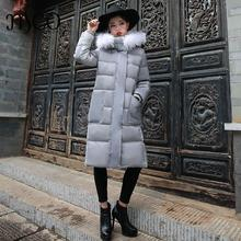 2016 High Quality Detachable Real Raccoon Fur Hooded Long Jacket for Women Duck Down Coat Winter Basic Thickening Warm Parka