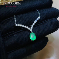 PROCOGEM Роскошный фантазии натуральный изумрудные ожерелья для Для женщин 6x8 мм 1.26Ct настоящий зеленый драгоценные камни высококачественные ю