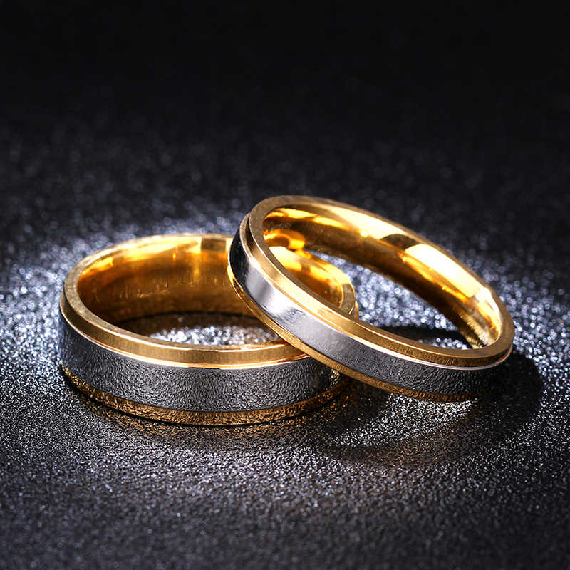 Couple Ring Gold-Color Jewelry for Women Man Titanium Steel Lover Ring Stainless Steel Wedding Bands