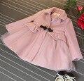 2016 primavera plus size combinar jaqueta e saia conjunto roupa das meninas das crianças bowknot peplum casual vestidinhos meninas