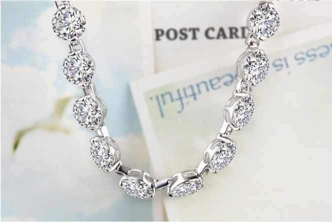 高級ラウンドダイヤモンド18 kホワイトゴールドカバー用ブレスレットバングル女性優れた品質永遠に続く
