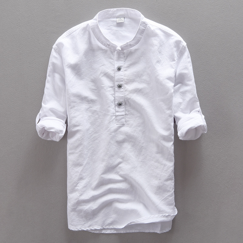 Aliexpress.com : Buy Men Shirts Mandarin Collar Cotton Linen Man ...
