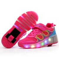 New Children LED Roller Shoes Boys Girls Automatic LED Lighted Flashing Roller Skates Kids Fashion Black