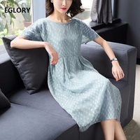 New Casual Dress 2018 Spring Summer Clothes Ladies Polka Dot Print High Quality Silk Chiffon Short