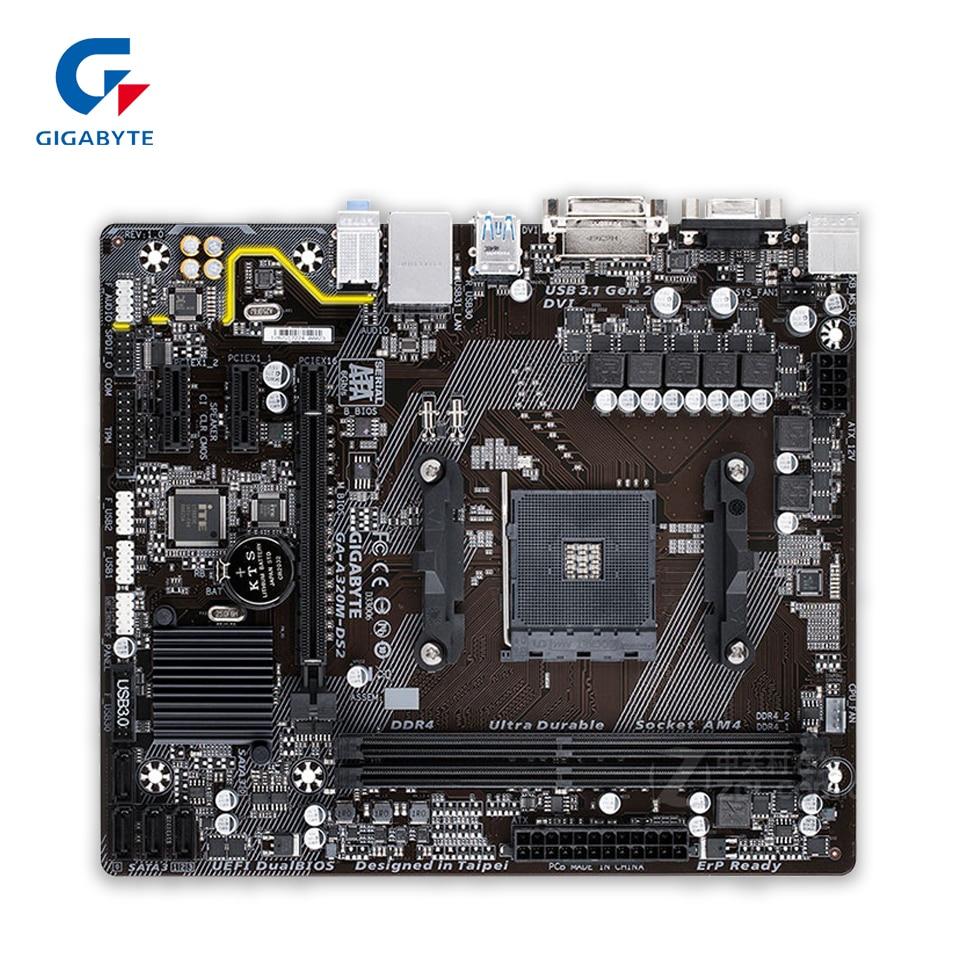 Gigabyte GA-A320M-DS2 Desktop Motherboard GA-A320M-DS2 Socket AM4 DDR4 32G USB3.1 Micro-ATX gigabyte h310m ds2