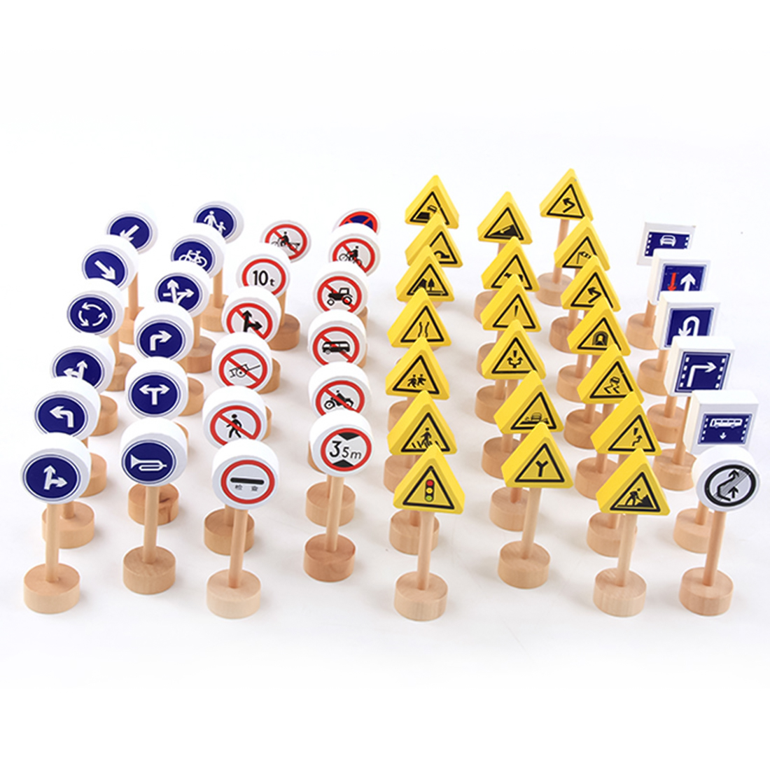 50pcs Double-sided Traffic Sign Building Block Educational Toys For Children Traffic Knowledge Learning Kits