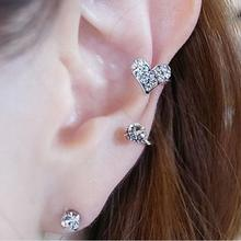 цена на rhinestone ear cuff heart pendientes fashion clip earrings jewelry orecchini women ear jacket wrap earcuff brincos