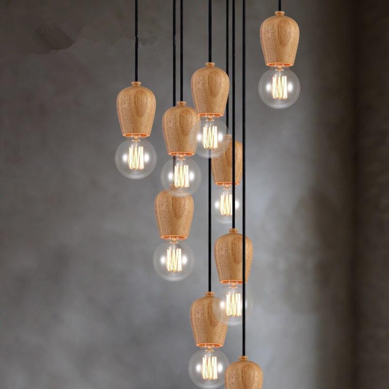 Vintage Pendant Light Oak Wood Lamp Cord The Geometric Beads String  Droplight Hanging Light Fixture Not