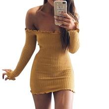 Сексуальная с плеча клуб женское платье Тонкий Bodycon платье Демисезонный трикотажные упругой свитер Вечеринка Платья для женщин Femme Vestidos 2