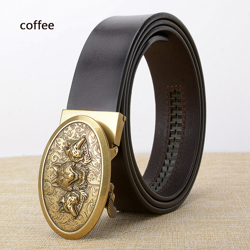 New Fashion Designers Bet withlWolf Head Automatic Buckle Genuine Leather Luxury Belts Business Belts for Men Ceinture Homme in Men 39 s Belts from Apparel Accessories