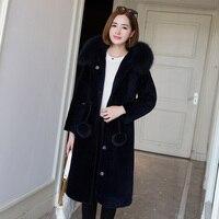 Зима 2018 Новое поступление России женский стиль Настоящий Лисий мех воротника куртка с капюшоном элегантный длинный тонкий стрижки овец мех