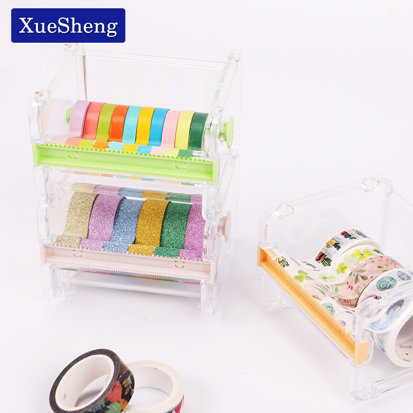 1PC Cute Simple Creative Transparent Adhesive Tape Dispenser Office Desktop Washi Tape Holder With Tape Cutter