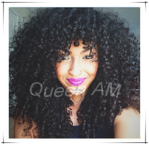2014 New Brazilian Glueless Lace Front Afro Kinky Curly