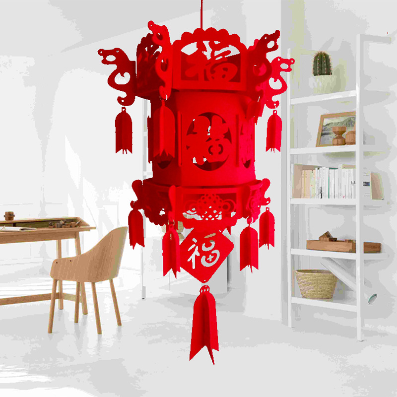DIY Non-woven Chinese Lantern Flocking New Year Home Decorations Chinese Knot Red Palace Lantern Wedding Festival Decoration