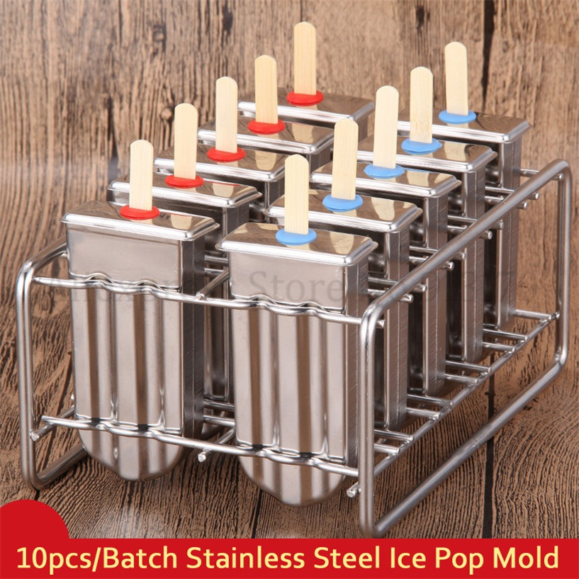10Pcs/Batch Ice Cream Pop Mold Popsicle Lolly Mould Stainless Steel Ice Cube Tray Home DIY Kitchen Tools cute silicone diy ice cube mould