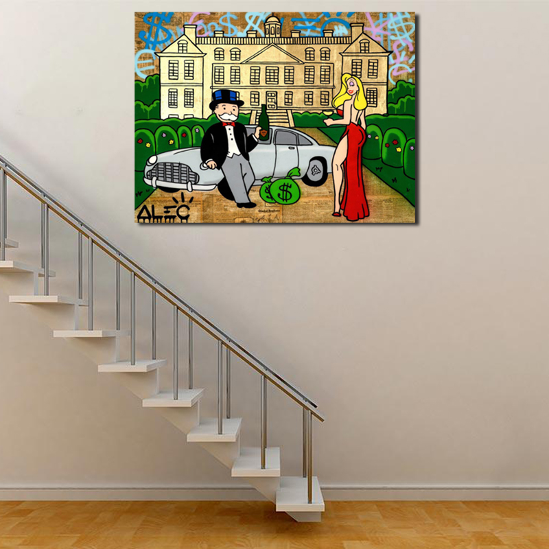 ALEC Monopolies Street Graffiti Canvas Painting Oil Print Bedroom Home Decor Modern Wall Art Oil Painting Poster Salon Pictures in Painting Calligraphy from Home Garden