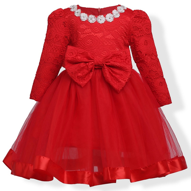 2017 Baby Girl Dress Big bow Lace Flower Girls Dresses Casual Kids Autumn Clothing long sleeve red 2t 3t 4t 5t 6t 7t 8t 9t 10t кабели межблочные аудио wire world silver eclipse 7 female tonearm din plug to 2rca males 1m