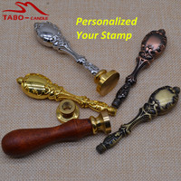 High Quality Custom Made Wax Seal Stamp Gold Silver Brass Metal Handle Antique Rosewood Handle Stamp