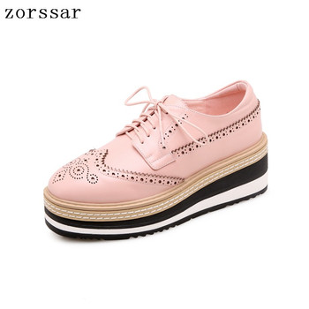 Zorssar 2019 Spring women flat shoes platform sneakers brogue lace up heels flat shoes women leather flats casual creepers shoes