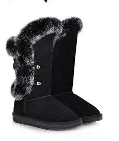 ФОТО Women Winter Flats Chunky Heel Genuine Leather Round Toe Rabbit Fur Button Fashion Warm Mid Calf Boots Size 35-39 SXQ0818