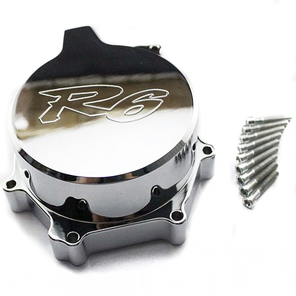 1PCS Aluminum CNC Motor Engine Guard Cover Motorcycle Engine wrestling decorative cover for YAMAHA YZF600  R6 03-04-05A motorcycle cnc 6 hole beveled engine side guard derby cover