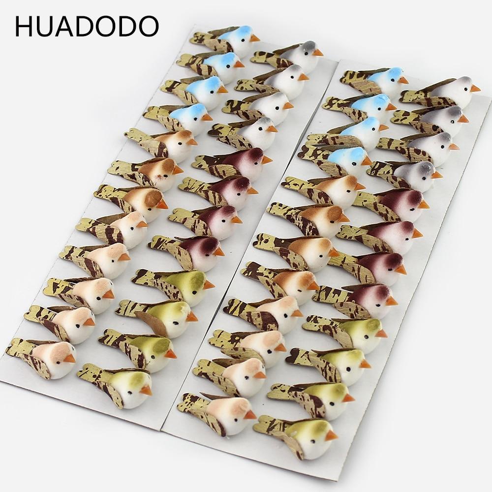 HUADODO 24 шт. разноцветные Искусственные Птицы ручной работы для дома, скрапбукинга, Рождественское украшение 3 см * 1,5 см