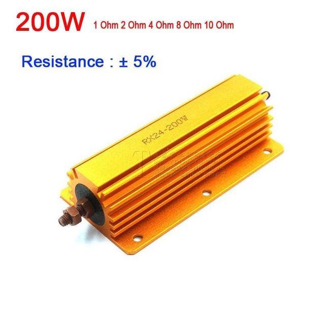 200W de potencia de vatios de Metal resistencia 1R 2R 4R 8R 10R 1ohm/2ohm/4ohm/8ohm 10ohm para placa base amplificador de tubo muñeco de prueba de carga