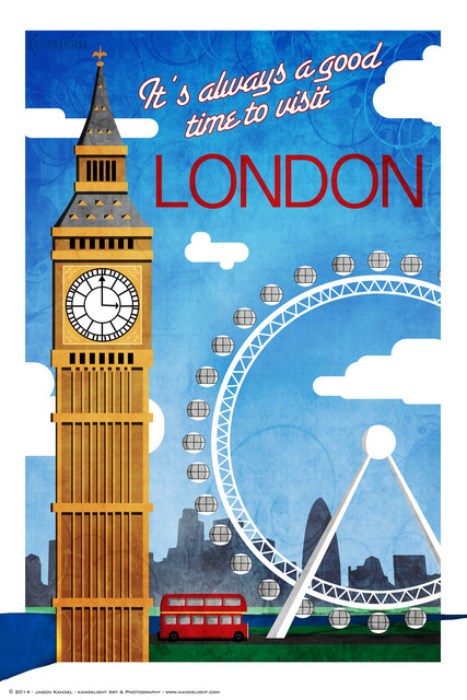 London Big Ben Maps Pop Art Retro Vintage Kraft Travel