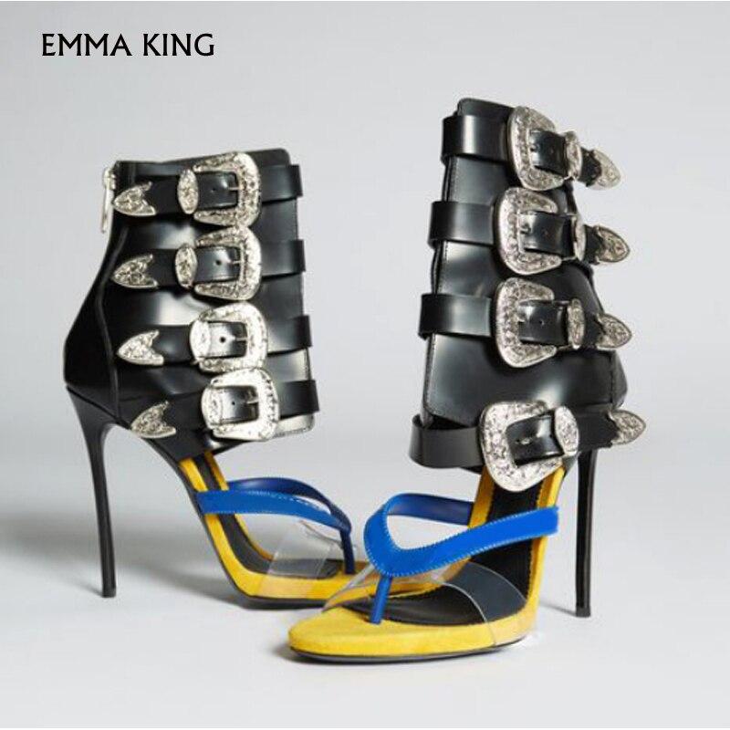 Livraison gratuite nouveau Sandalias Mujer 2019 mode gladiateur sandales femmes talons aiguilles boucle sangles grande taille chaussures femme