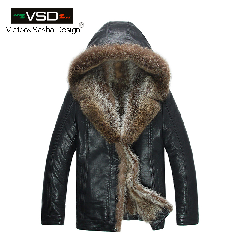 Freeshipping Fashion High Quality Men's Coats Imitation Leather Jacket Fashion Raccoon Fur Collar Leather Jackets Men Hot Sale